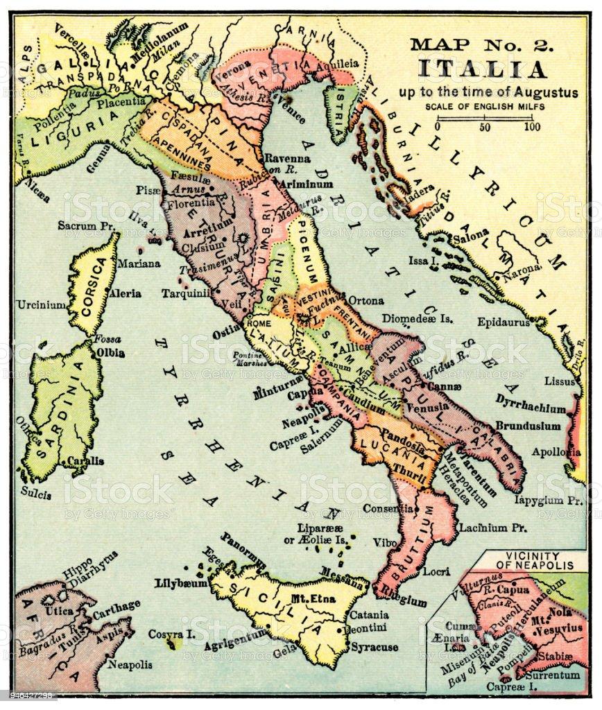 Gammal Karta Italien.Karta Over Italien I Tider Av Augustus 1889 Vektorgrafik Och Fler