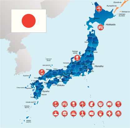 Map of Japan with object icons