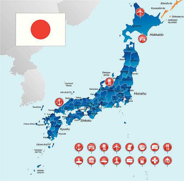 Japan Airport Clip Art Vector Images Illustrations IStock - Japan map airports