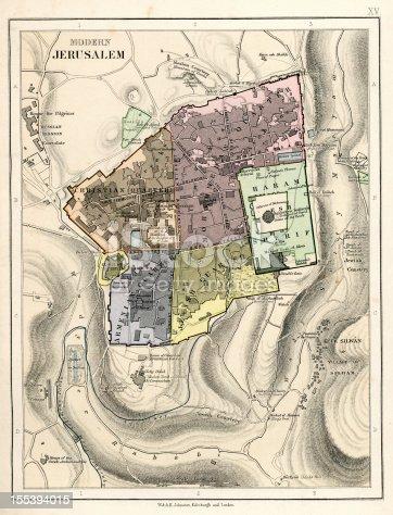 Vintage  map from 1879 showing Jerusalem