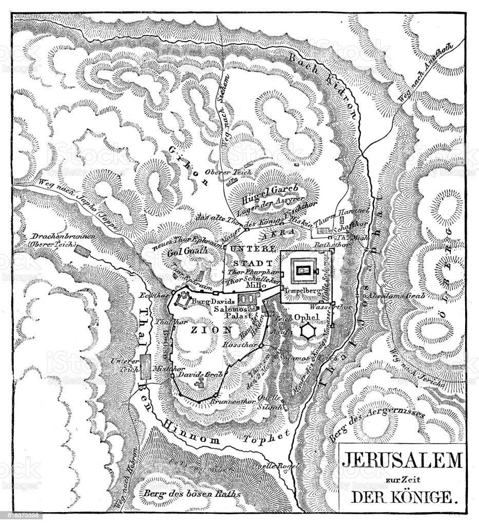 Map of Jerusalem vector art illustration