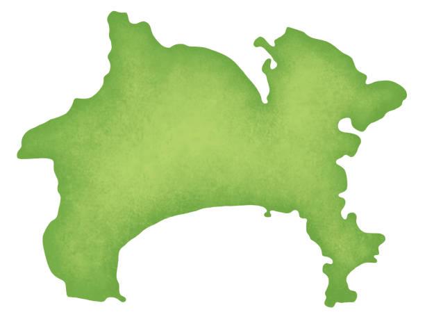 가나가 현의 지도 - 가나가와 stock illustrations