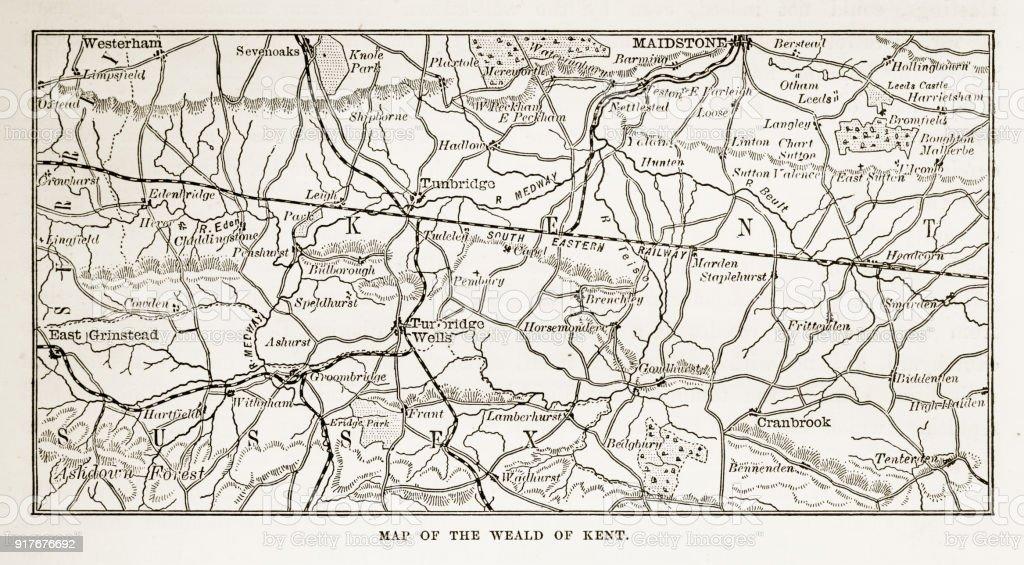 Carte Touristique Kent Angleterre.Carte De Kent Et De Quartiers De Langleterre Victorienne Gravure