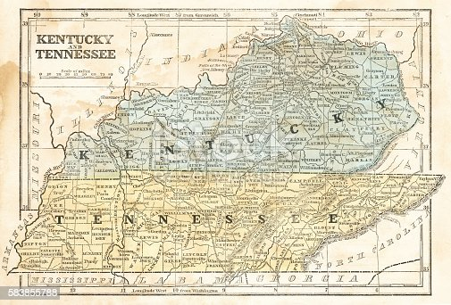 Map Of Kentucky And Tennessee 1855 Stock Vector Art & More Images of ...