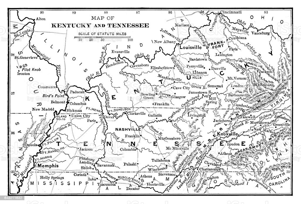 Map of Kentucky and Tennessee vector art illustration