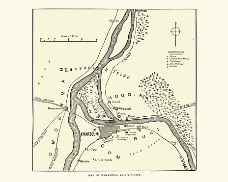Vintage illustration of Map of Khartoum and vicinity at the time of siege of Khartoum 1884