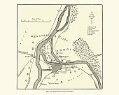 istock Map of Khartoum and vicinity at the time of siege of Khartoum 1884 1310966299