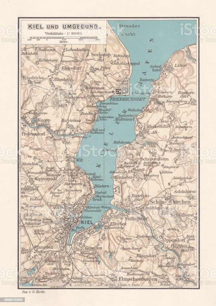 Map Of Kiel Capital Of Schleswigholstein Germany Lithograph