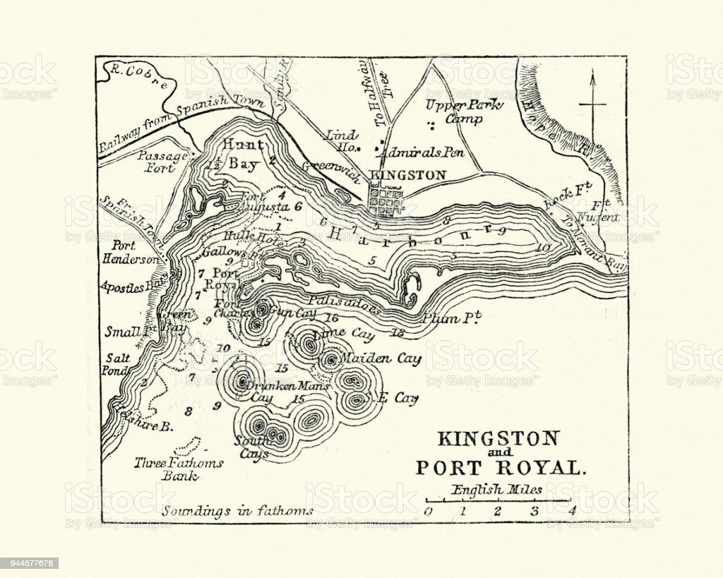 Map of Kingston and Port Royal, Jamaica, 19th Century vector art illustration
