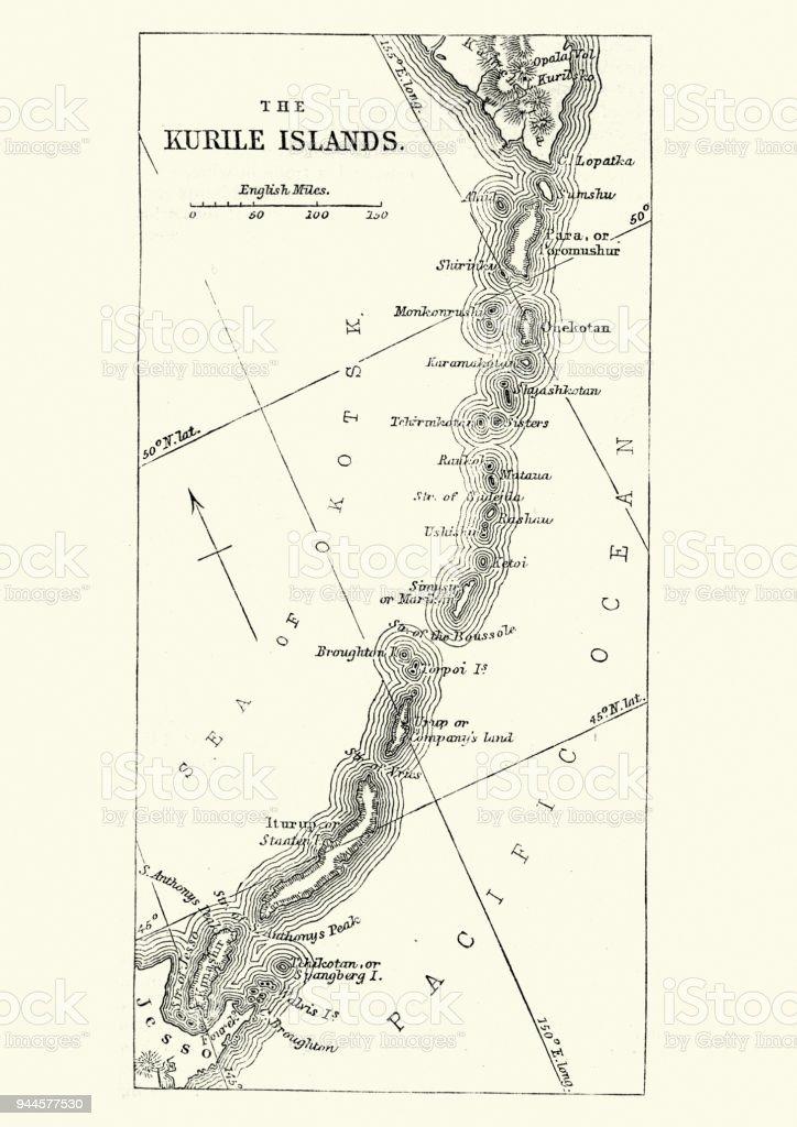 Ilustración de Mapa De Las Islas Kuriles Siglo Xix y más banco de ...