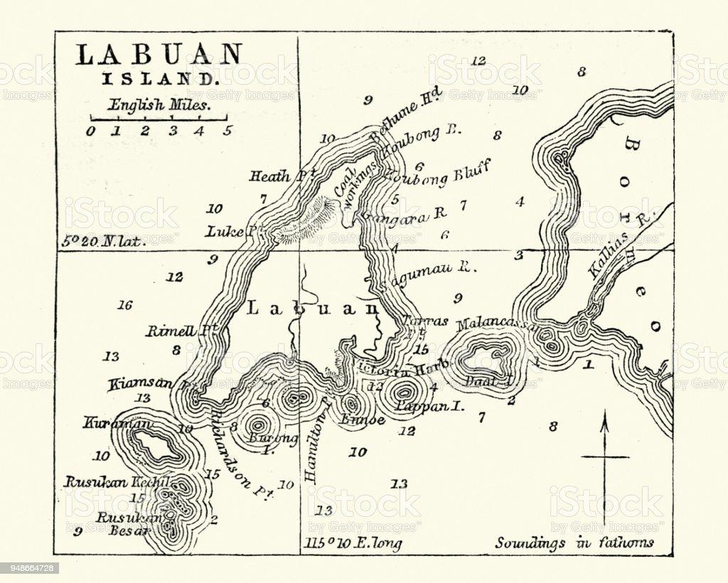 Map of Labuan Island, Malaysia, 19th Century vector art illustration