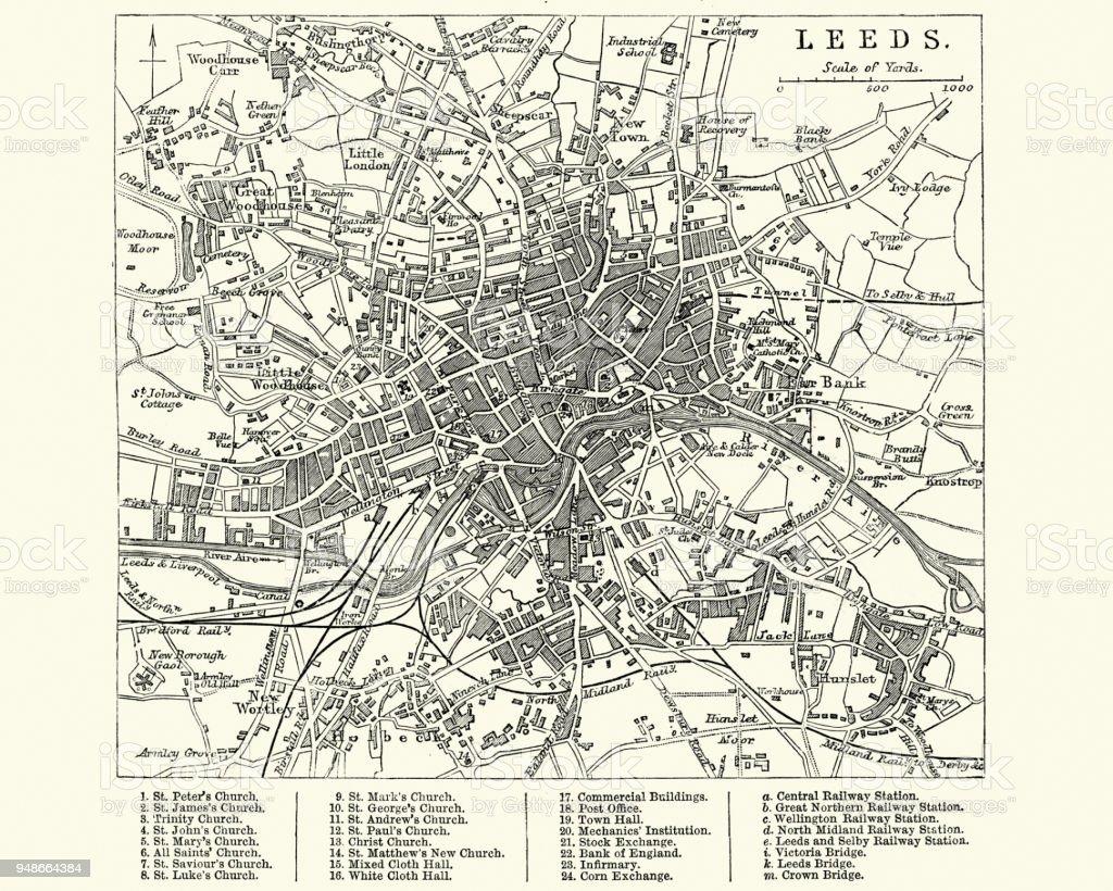 Map of Leeds, Wesy Yorkshire, England 19th Century vector art illustration
