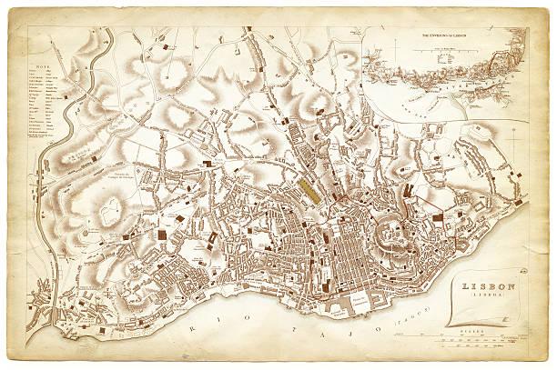 ilustrações de stock, clip art, desenhos animados e ícones de mapa de lisboa 1840 - lisboa