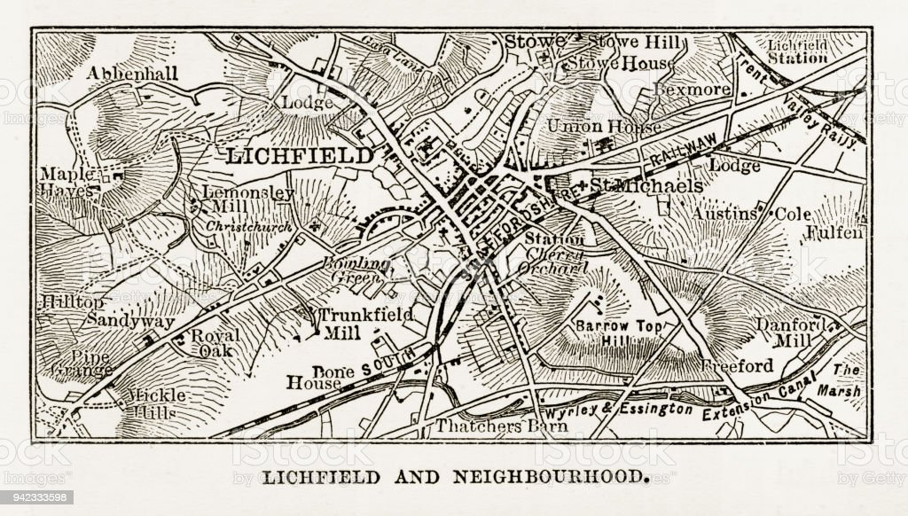 Map of Litchfield in Staffordshire, England Victorian Engraving, 1840 vector art illustration