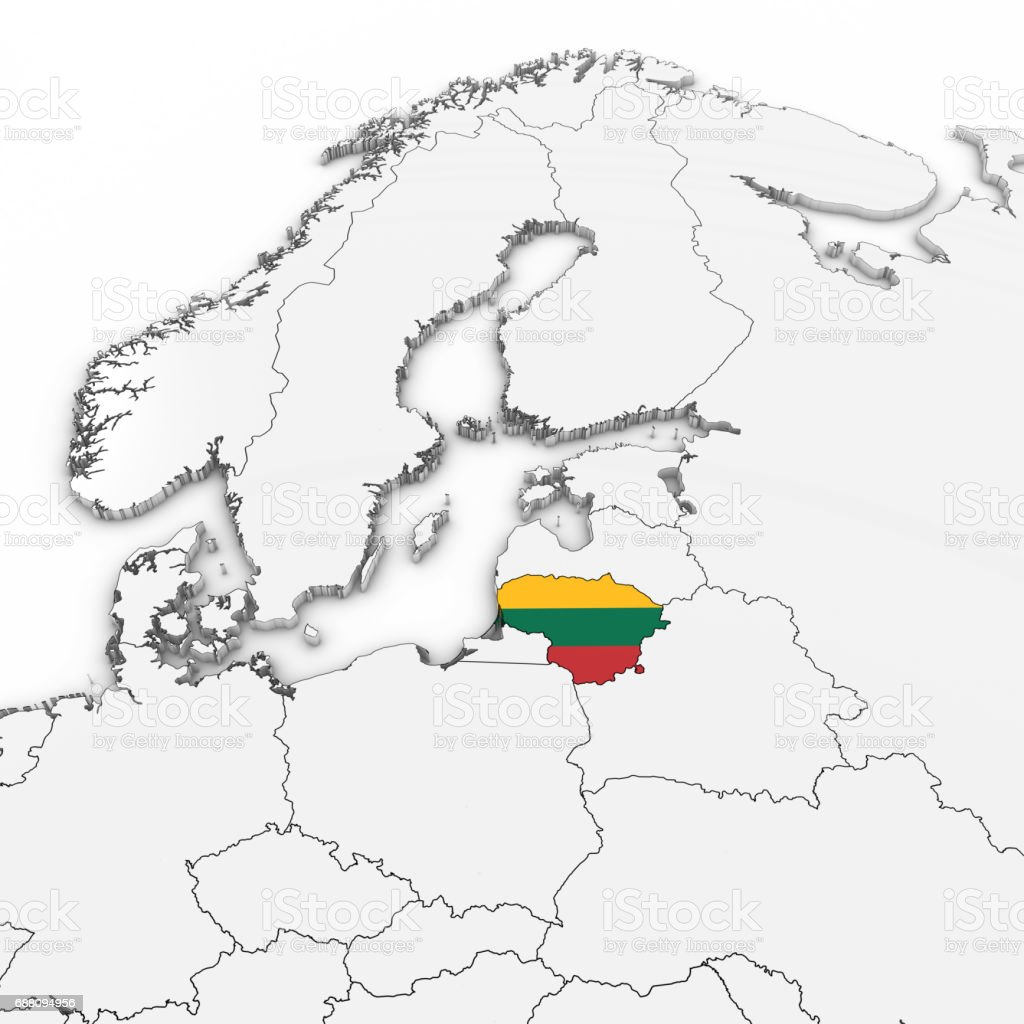 D Map Of Lithuania With Lithuanian Flag On White Background D - Lithuania map vector