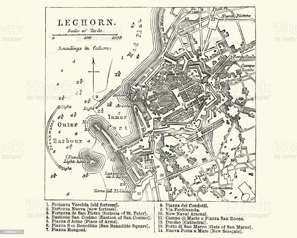 Map of Livorno (Leghorn), Tuscany, Italy, 19th Century vector art illustration