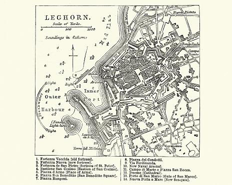Map Of Livorno Tuscany Italy 19th Century Stock Illustration