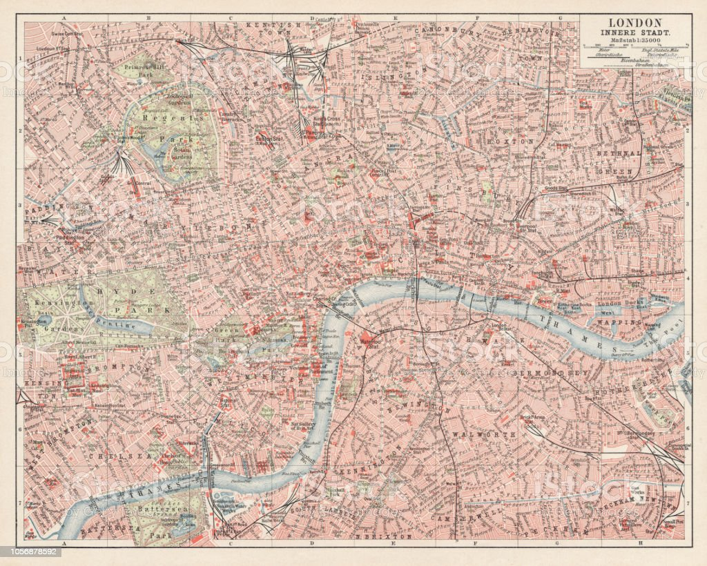 Map Of London 1900.Map Of London 1900 Stock Vector Art More Images Of Antique