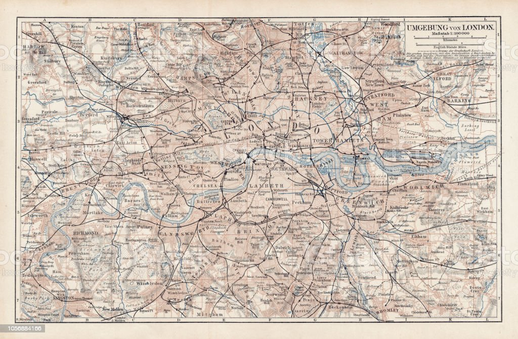 Map Of Uk 1900.Map Of London 1900 Stock Illustration Download Image Now Istock