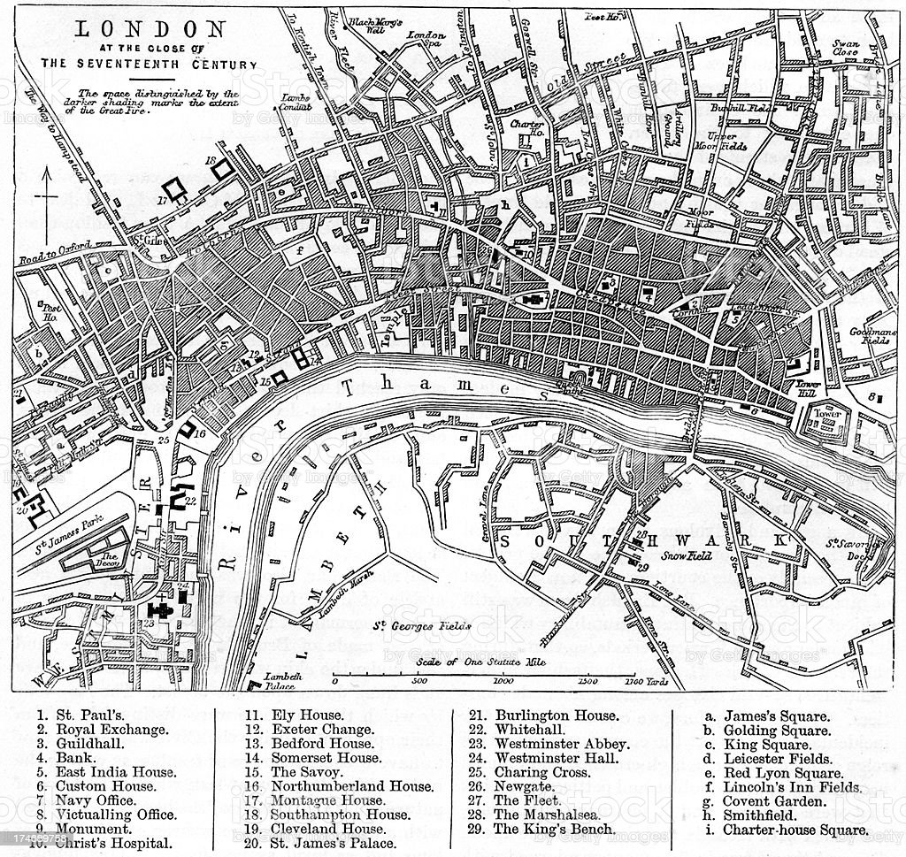 Map of London in the 17th Century vector art illustration