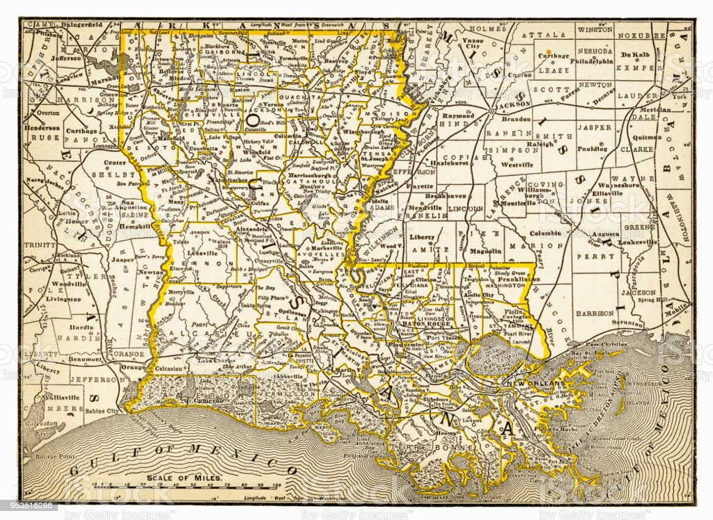 North Louisiana Map.Map Of Louisiana 1893 Stock Vector Art More Images Of Antique