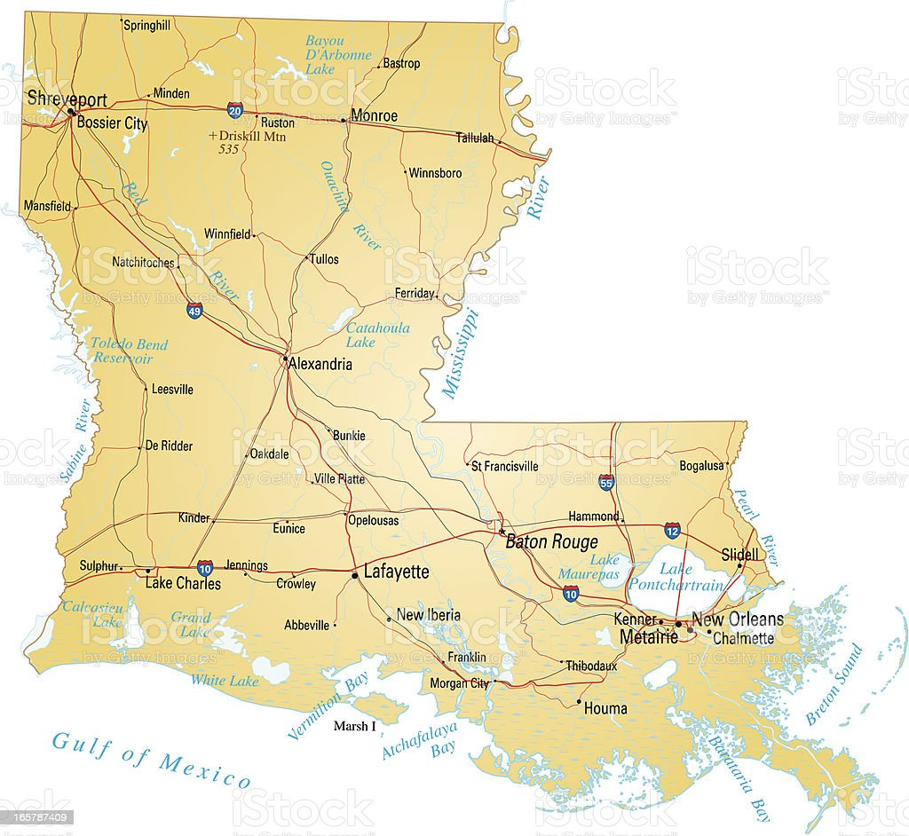 Interstate Map Of Louisiana.Map Of Louisiana Stock Vector Art More Images Of Baton Rouge
