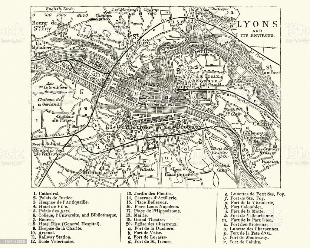 Map Of Lyons France 19th Century Stock Vector Art More Images Of