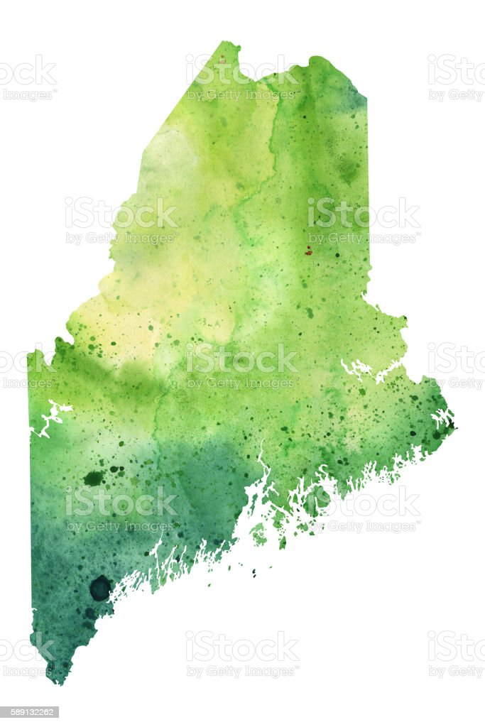 Map of Maine with Watercolor Texture - Raster Illustration vector art illustration
