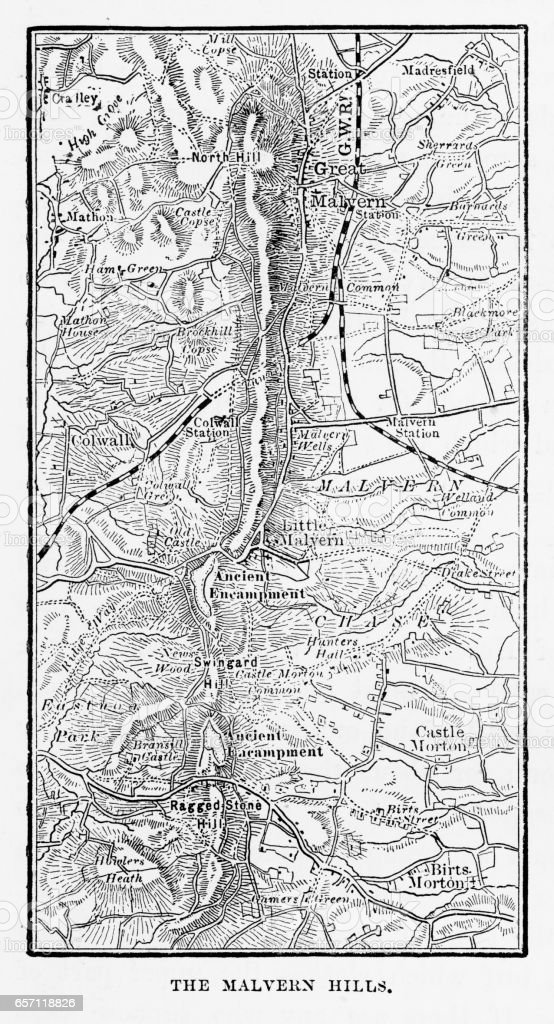 Map Of Malvern Hills In Worcestershire England Victorian Engraving