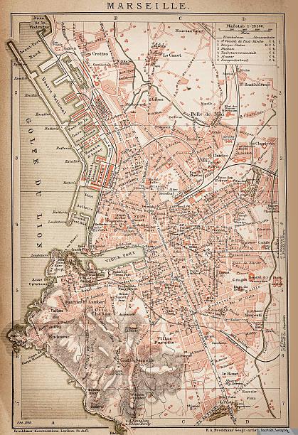 stockillustraties, clipart, cartoons en iconen met map of marseille 1898 - marseille