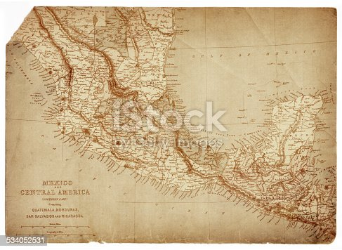 Map of Mexico and Central America - Guatemala, Honduras, San Salvador and Nicaragua.