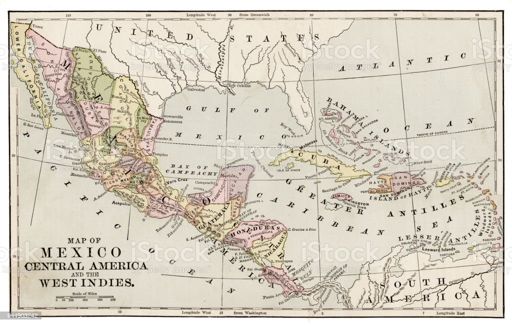 Map Of Mexico And Central America 1889 Stock Vector Art More