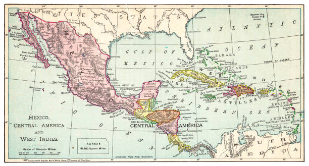 Map of Mexico and West Indies 1895 The Rand-McNally Grammar School Geography 1895 - Chicago & New York central america stock illustrations