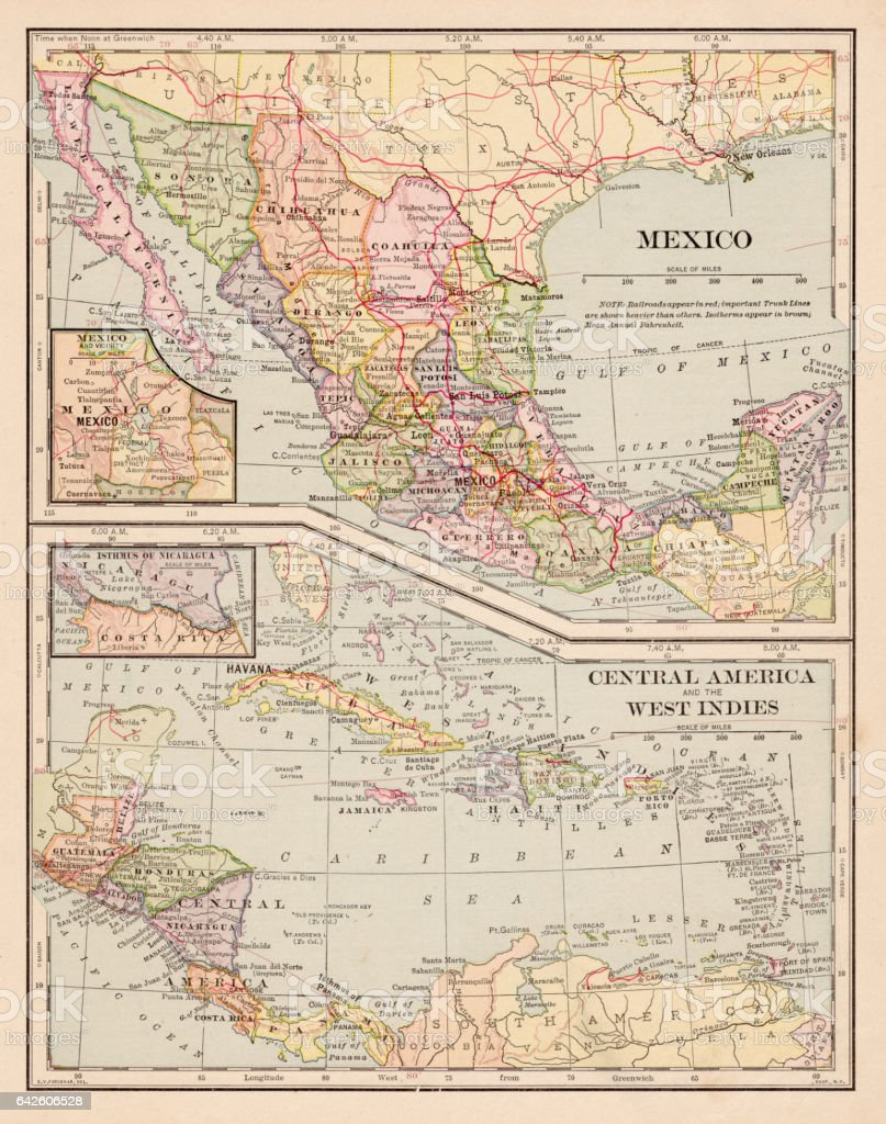 map of mexico caribbean central america 1898 royalty free map of mexico caribbean central america