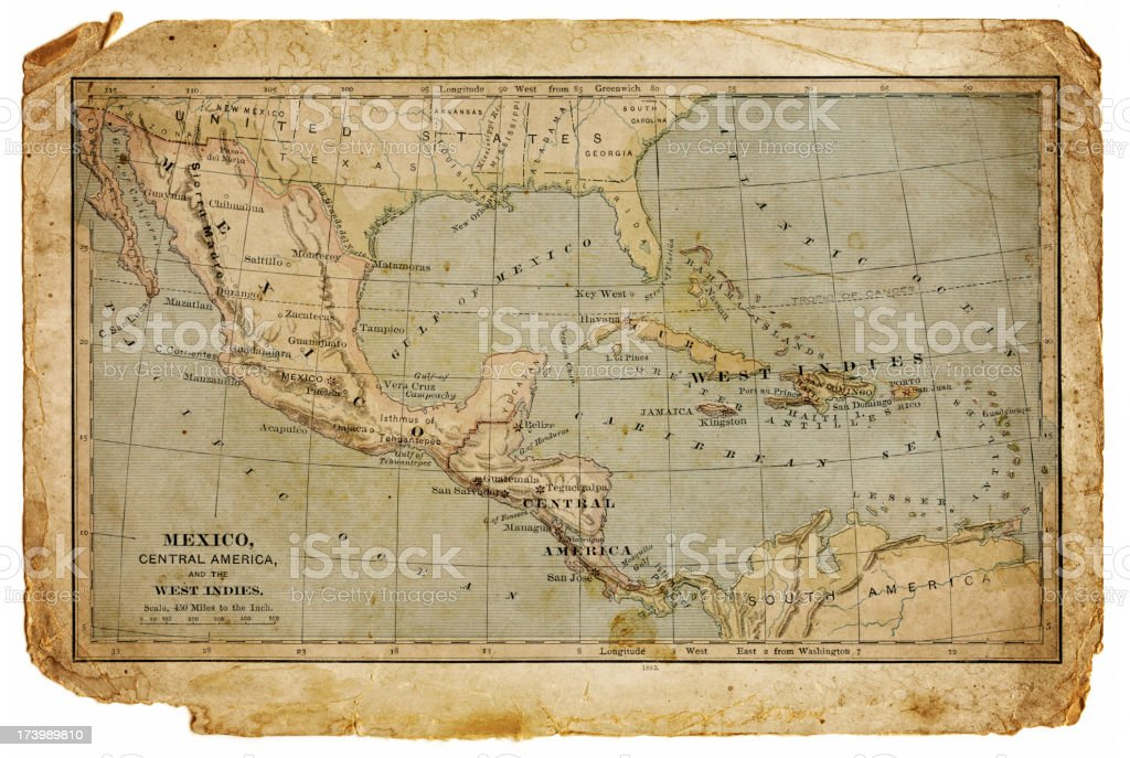 map of mexico, central america and the west indies vector art illustration