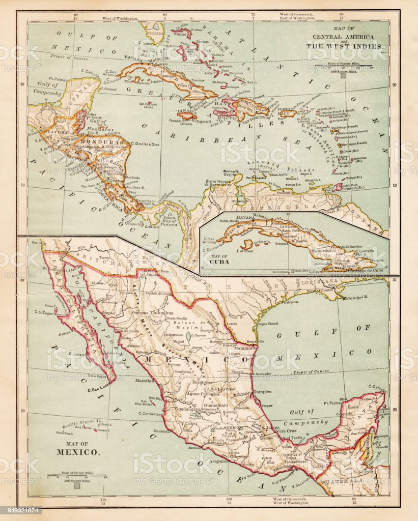 map of mexico central america of 1877 royalty free map of mexico central america of