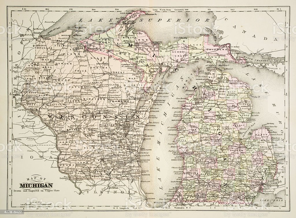 Map of Michigan 1894 vector art illustration