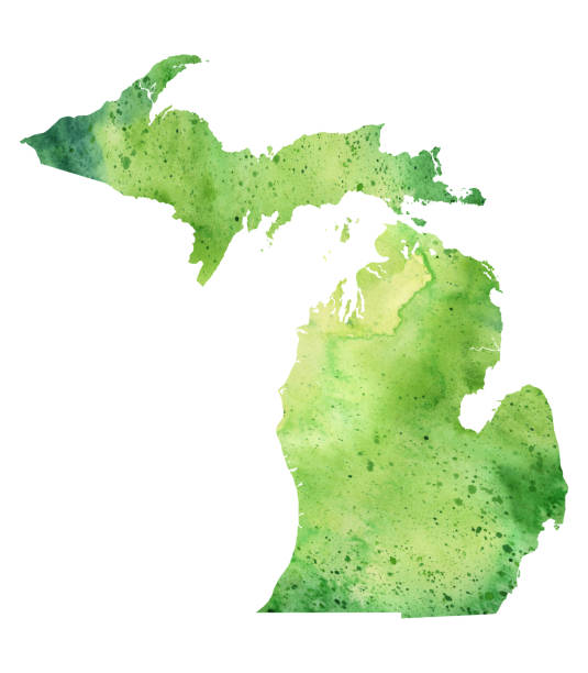 map of michigan with watercolor texture - raster illustration - lake superior stock illustrations, clip art, cartoons, & icons