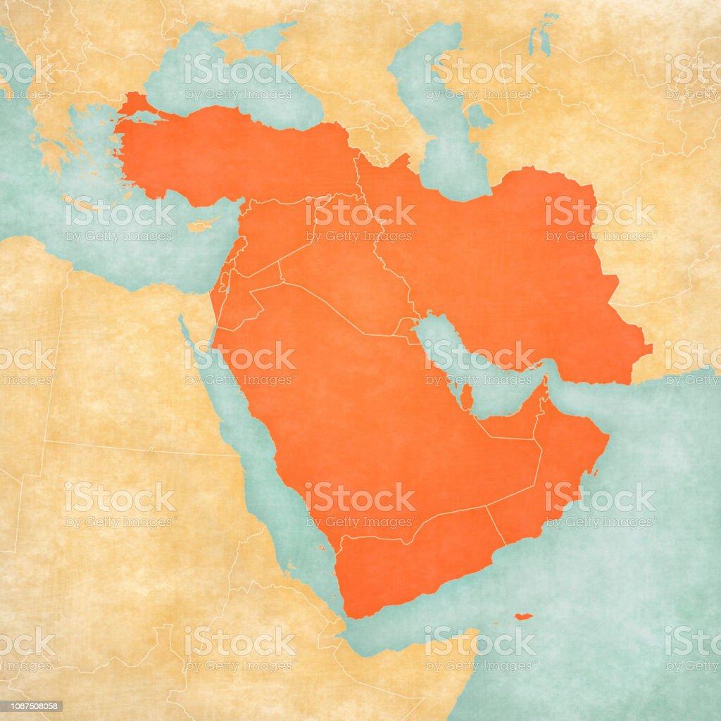 Nahost Karte.Karte Von Nahost Alle Länder Stock Vektor Art Und Mehr Bilder Von