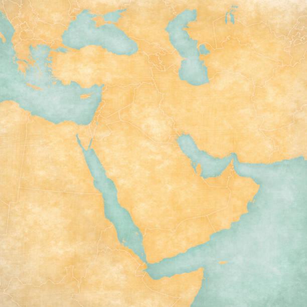 中東 - 空白の地図の地図 - 中東の地図点のイラスト素材/クリップアート素材/マンガ素材/アイコン素材