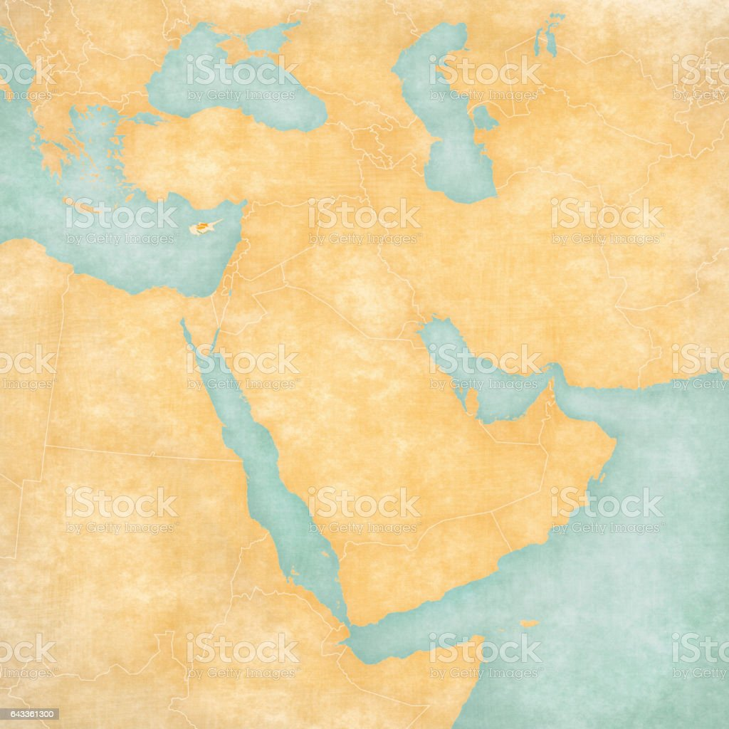 Map of Middle East - Cyprus vector art illustration