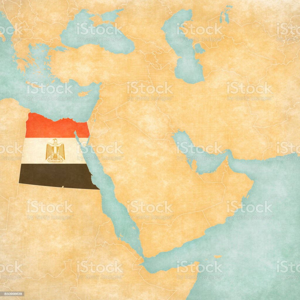 Map of Middle East - Egypt vector art illustration