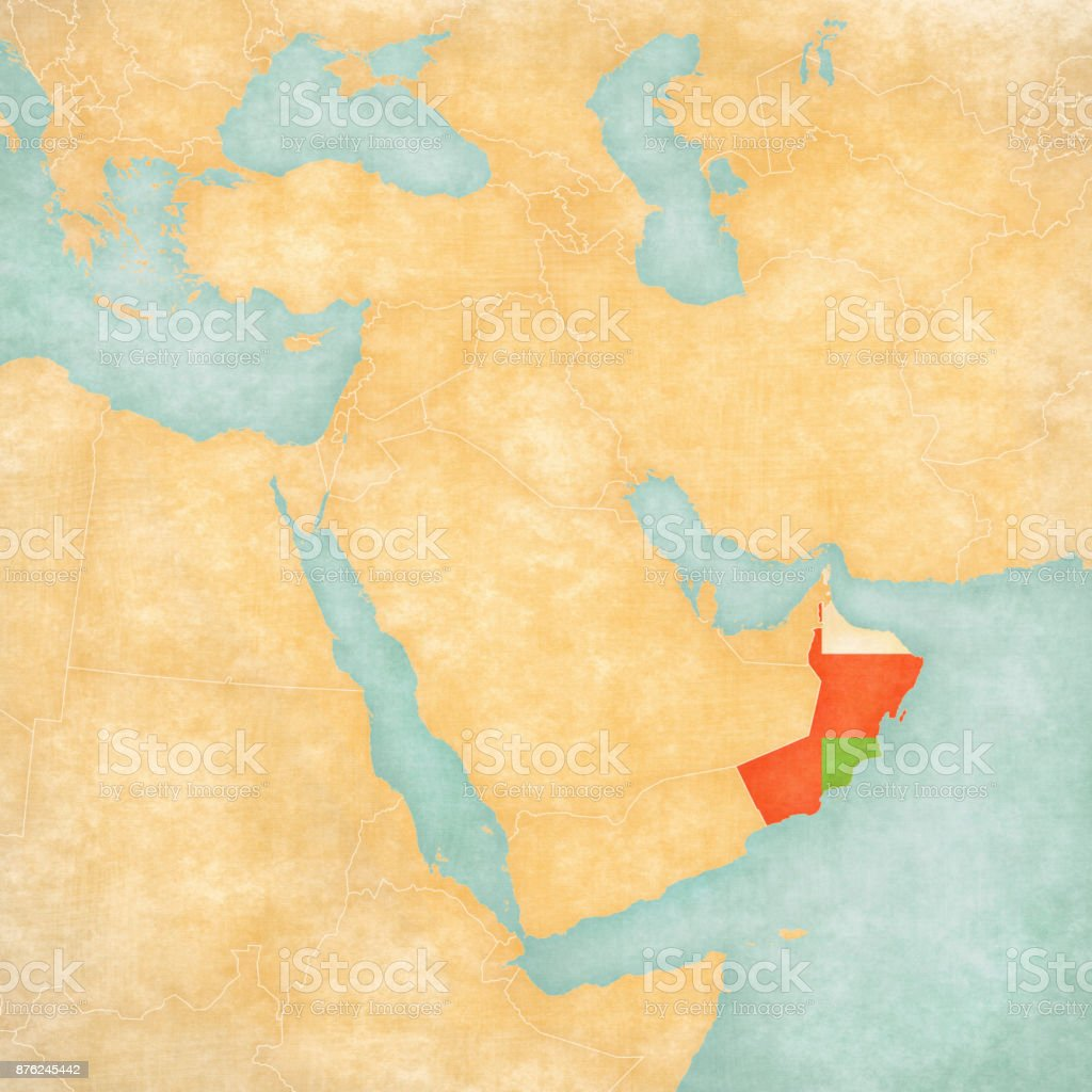 Middle East Map Arabian Peninsula.Map Of Middle East Oman Stock Vector Art More Images Of Arabian