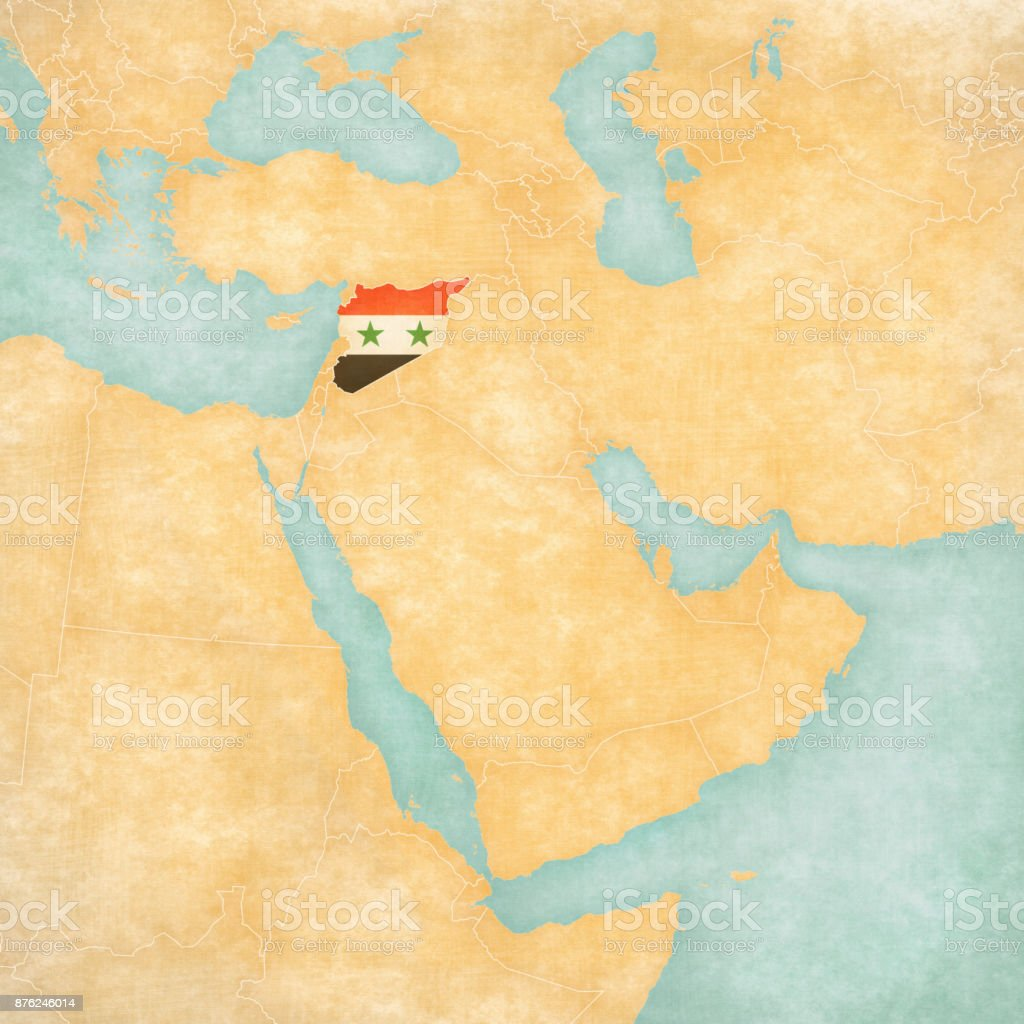 Map of Middle East - Syria vector art illustration