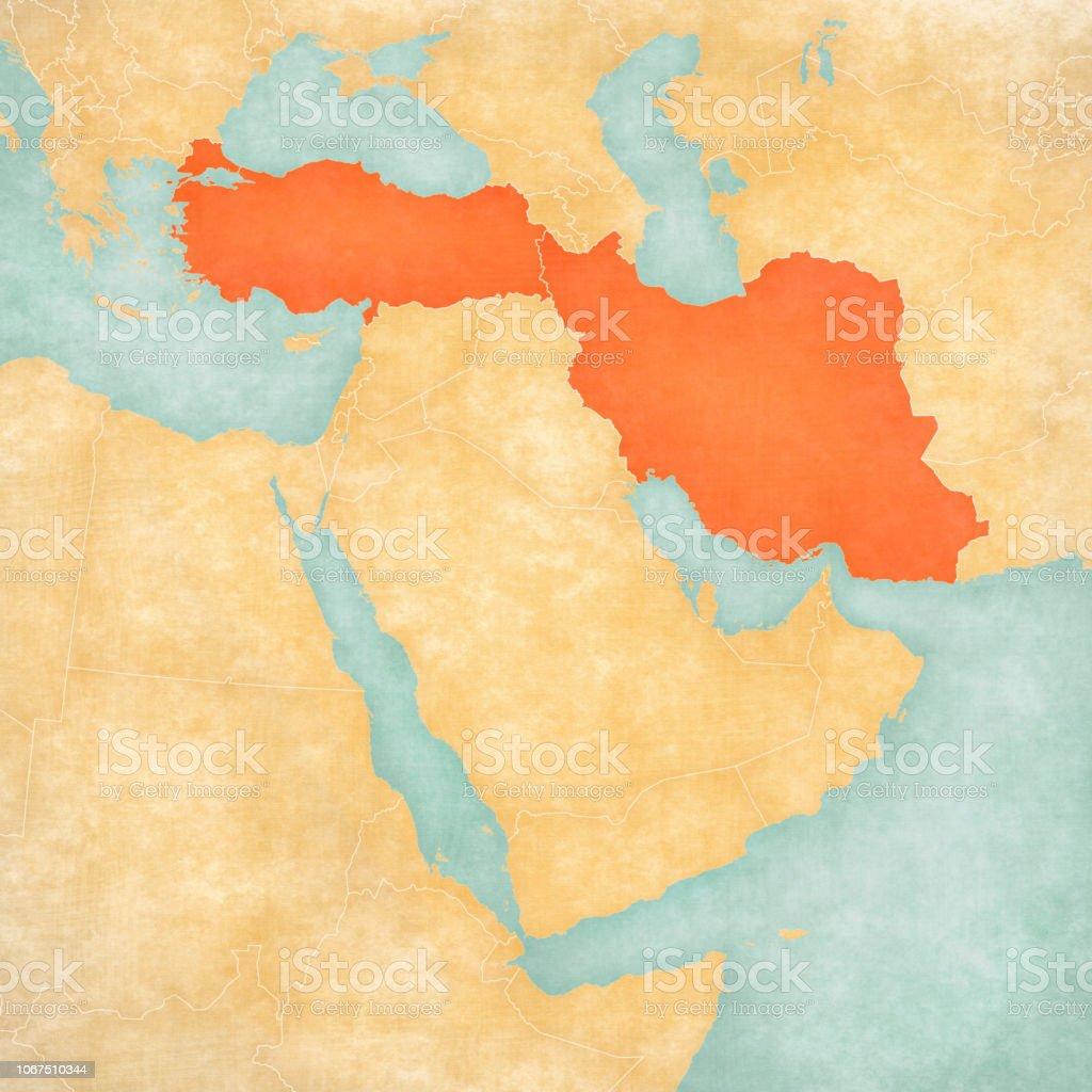 Nahost Karte.Karte Von Nahost Türkei Und Iran Stock Vektor Art Und Mehr Bilder Von Altertümlich