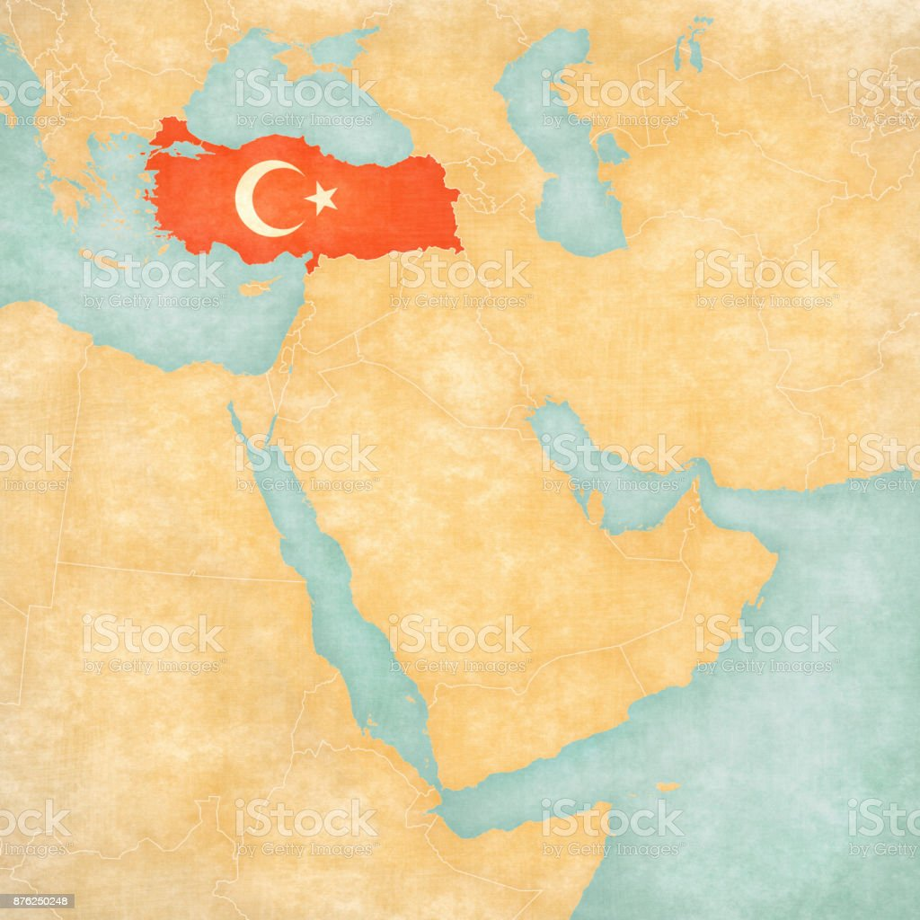 Map of Middle East - Turkey vector art illustration