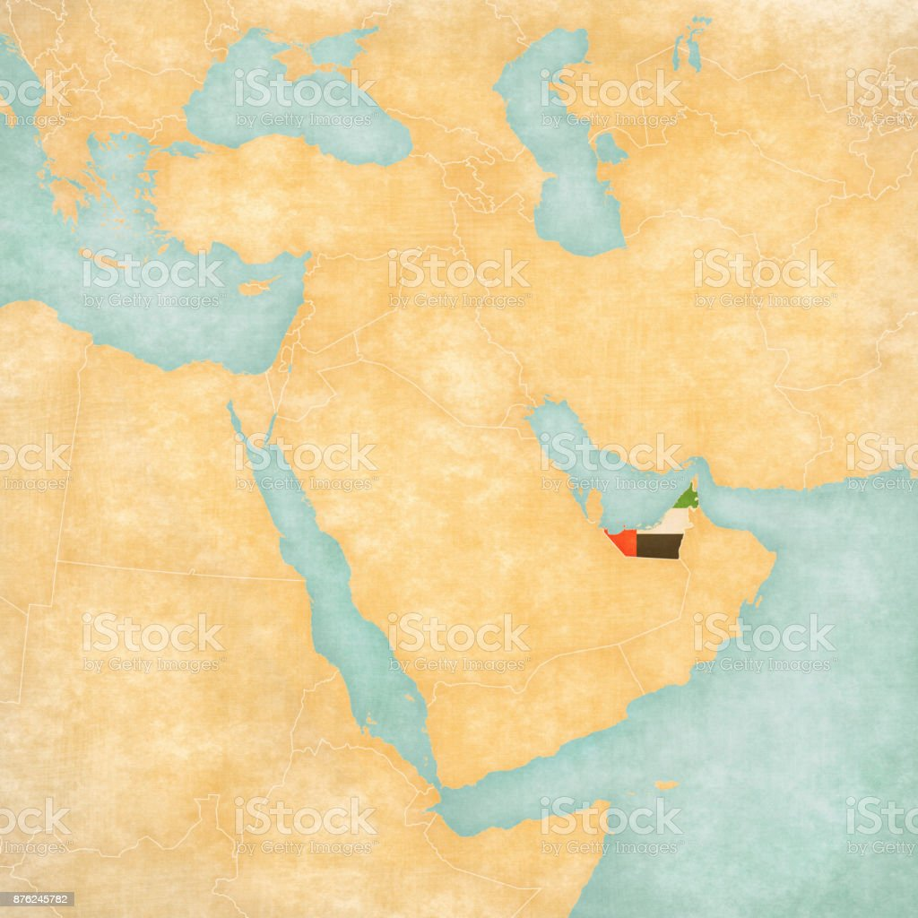 Map of Middle East - United Arab Emirates vector art illustration