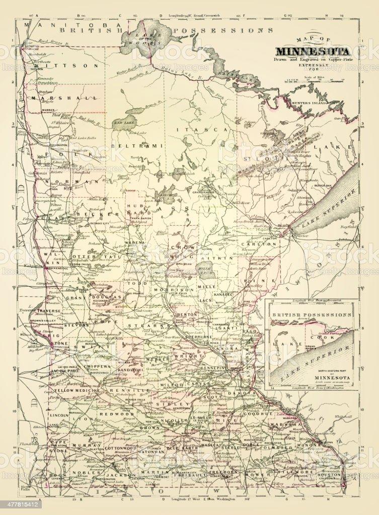 Map of Minnesota 1894 vector art illustration