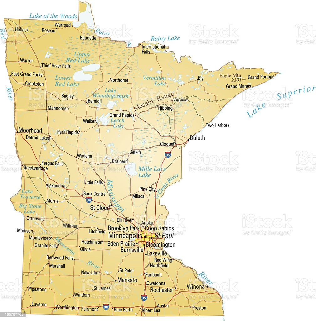 Map of Minnesota vector art illustration