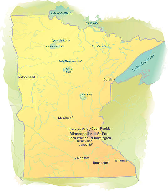 map of minnesota - watercolor style - lake superior stock illustrations, clip art, cartoons, & icons